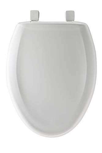 Mayfair Slow-Close Plastic Toilet Seat featuring Easy Clean & Change Hinges and STA-TITE Seat Fastening System, Elongated, White, 120SLOWE 000