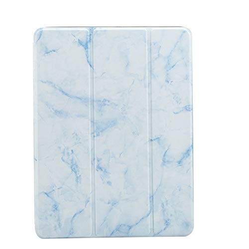 BEESCLOVER for iPad Series PU Leather Marble Pattern Tablet Protection Case with Bracket Pen Slot Blue