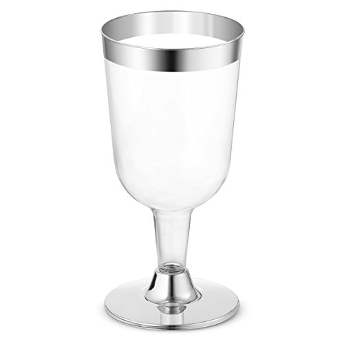 BloominGoods 50-Pack 7.5oz Wine Glass - Disposable Clear Plastic Cups - Party & Wedding – Silver Rimmed – Fancy Premium Heavy Duty Plastic Party Wine Glasses