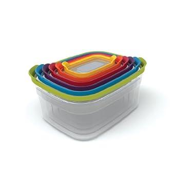 Joseph Joseph 81009 Nest Storage Plastic Food Storage Containers Set Food Saver Resuable Lunch Box Pantry Storage Microwave-Safe, 12-Piece, Multicolored