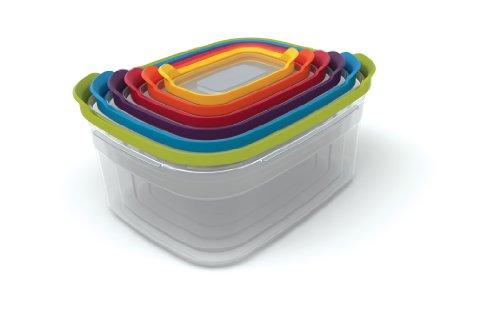 Joseph Joseph 81009 Nest Storage Plastic Food Storage Containers Set Food Saver Resuable Tupperware Lunch Box Pantry Storage Microwave Safe  12 Piece  Multicolored