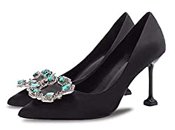 Black Rhinestone Closed Pointed Toe Stilettos High Heel Slip-on
