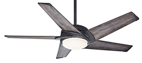 Casablanca Fan Company 59093 Stealth 54-inch Aged Steel Ceiling Fan with Gray Washed Vaneer Blades and Cased White Glass (Casablanca Fan Steel Ceiling Fan)