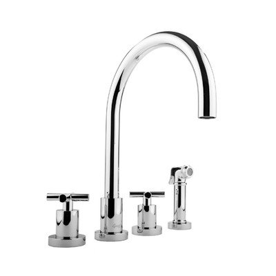 Graff Widespread Bath Faucet - Infinity Two Handle Widespread Kitchen Faucet with Side Spray Finish: Polished Chrome