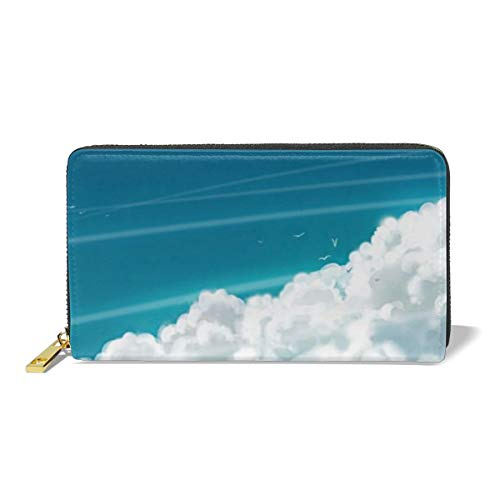 Poream Lonely Girl Sky Clouds Wallpaper Personalized Leather Zipper Printed Clutch Bag Wallet Card Large Capacity Long Purse For Women