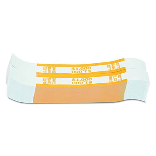MMF Industries Self-Adhesive Currency Straps, Yellow, $1000 in $10 Bills, 1000 Bands per Box (216070G12) (Currency 1000)