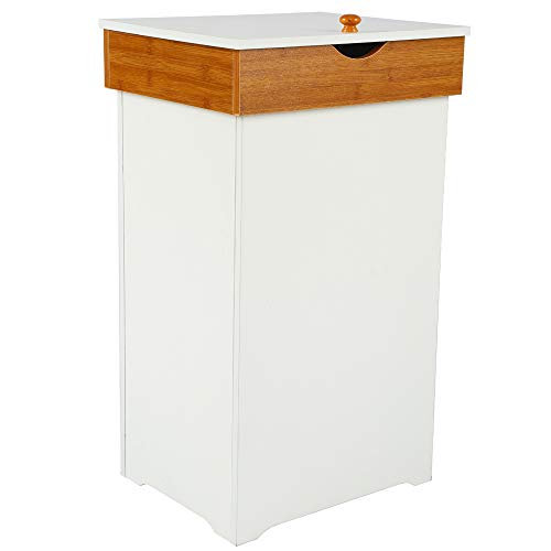 Home-Like Kitchen Trash Can with Lid Country Trashcan Wood Trash Bin Garbage Can Wooden Trash Can in-Home Recycling Bins 13 Gallon Outdoor Trash Cans Recycle Bin in White 16
