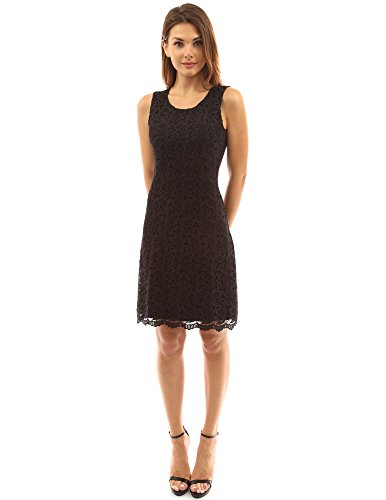 PattyBoutik Women's Crewneck Sleeveless A-Line Lace Dress (Black M)