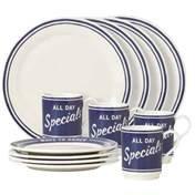 All In Good taste Orders up 12 Piece Dinnerware Set, White