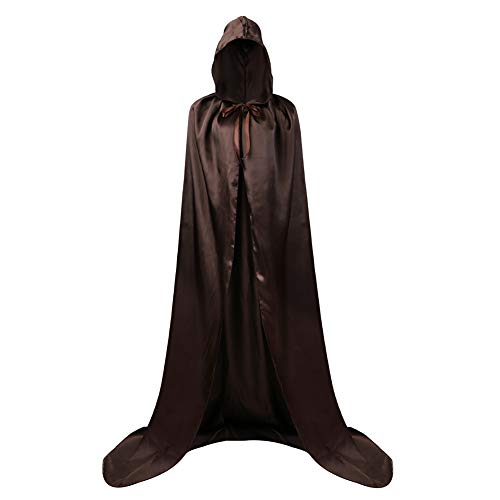 AOLAIYAOQU Unisex Tunic Vampire Hooded Cloak Wicca Robe Medieval Witchcraft Cape Cosplay Cloak Halloween Black]()