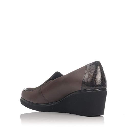 Marron Mocasin Zapato Cuña Mujer 5231 Pitillos Piel nfY6WEqp