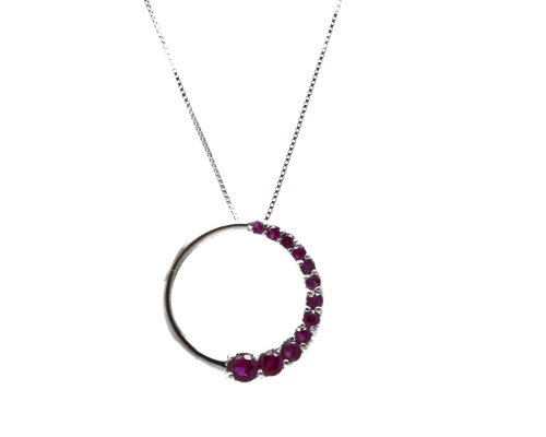 (10K White Gold Created Ruby Circle Journey Pendant with White Gold Chain)