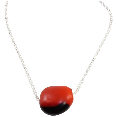 Peruvian Gift Pendant for Women - Huayruro Red Black Seed Bead, Fine Chain - Good Luck Necklace - Handmade Ecofriendly Jewelry by Evelyn Brooks