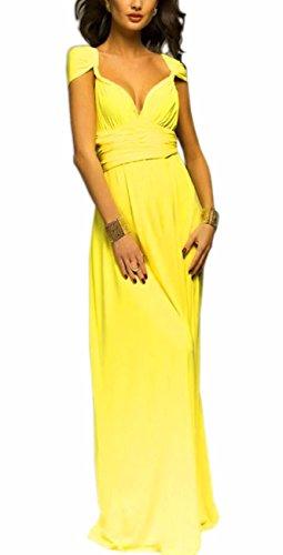 Sexyshine Women's Backless Gown Dress Multi-Way Wrap Halter Cocktail Dress Bandage Bridesmaid Long Dress (YE,L) Yellow