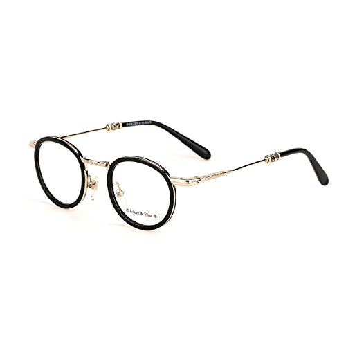 Eileen&Elisa Round Vinatge Glasses Frame with Clear Lens Retro Reading Eyeglasses Frame Case (Silver, 47) (Vinatge Glasses)