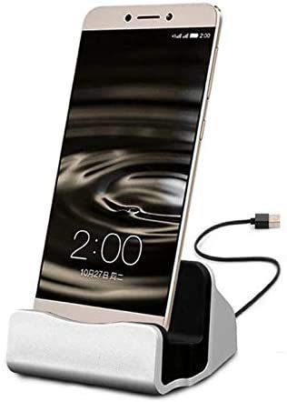 Sweet Tech SILVER Charging Dock 2 in 1 Charge and Sync Desktop suitable for compatible with ROKiT IO 3D Smartphone/Pro…