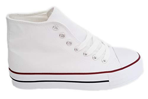 Sin Cm Logotipos Doble Canvas De Suela Ni Altas Blanco Deportivas 3 5 Marca Lona Mujer Blancas Plataforma Alto Zapatillas Con HwP8q8