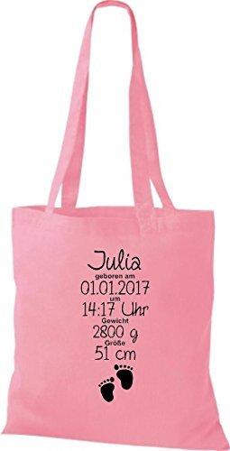 shirtstown Bolsa De Tela Un Estupendo Regalo Para Nacimiento COn Deinen Personalizado initilien YESO CON Rosa