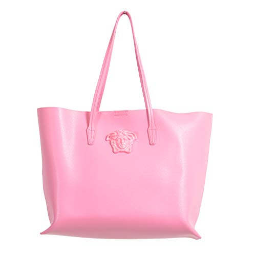 Versace Pink Saffiano Leather Tote Women's Shoulder Handbag Bag