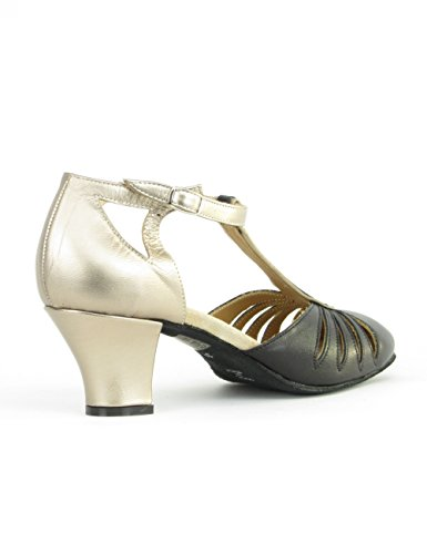 Rumpf 9210 Zapatos Baile Mujer Balboa Latino Salsa Rumba Tango Salón Cuero suela de cromo tacón 5 cm ¡Hechos en Italia! Negro / Plateado