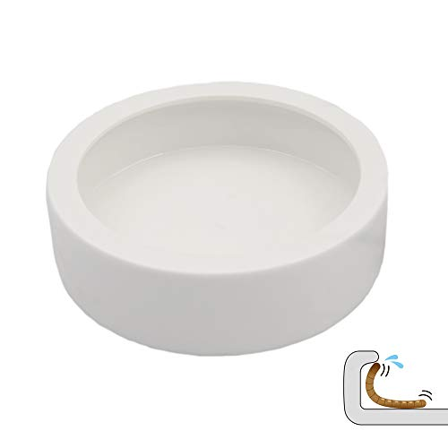 DC ADYOU Reptile Ceramic Food&Water Bowl Worm/Dubia Roaches Dish Against Escaping (Middlle)