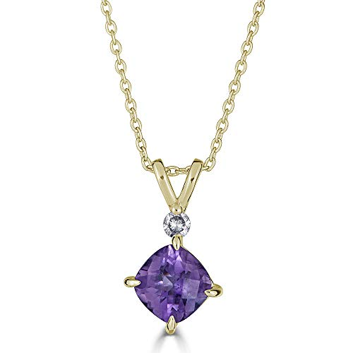 Gold Pink Amethyst Pendant - Eleganti 14K Gold Pendant Necklace with Natural Amethyst and IGL Certified Diamonds- February Birthstone- Pure Gold Chain Included (Yellow-Gold)