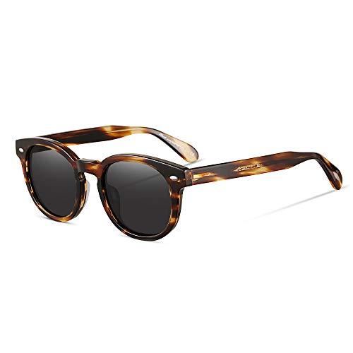 EyeGlow Vintage Round Sunglasses Women Sunglasses Polarized Lens 5187 Acetate material (Blonde vs grey polarized lens, As ()