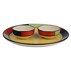 ANK Home Craft Handmade Hand Painted Ceramic Dinner Plate and Dining Bowl Set (2 Plate, 2 Bowls, Multicolour) Dishwasher…
