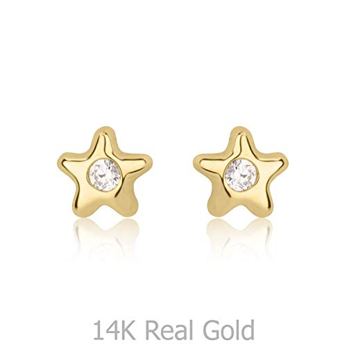 (14K Solid Yellow Gold Cubic Zirconia Star Screw Back Stud Earrings for Baby Girls Gift Children)