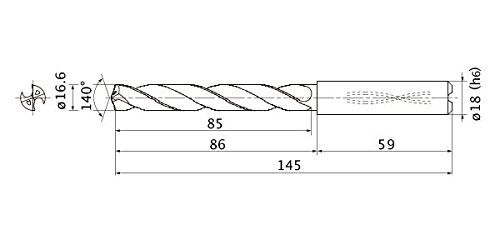 18 mm Shank Dia. 3 mm Point Length Mitsubishi Materials MMS1660X3DB MMS Series Solid Carbide Drill Internal Coolant 16.6 mm Cutting Dia 3 mm Hole Depth