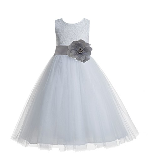 ekidsbridal Floral Lace Heart Cutout White Flower Girl Dresses Silver First Communion Dress Baptism Dresses 172T -