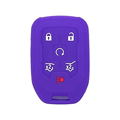 SEGADEN Silicone Cover Protector Case Skin Jacket fit for GMC CHEVROLET 6 Button Remote Key Fob CV4617 Deep Purple: Automotive