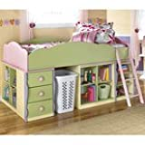 Doll House Twin Loft Bed w/ Two Bottom Shelf Storage by Signature Design By Ashley