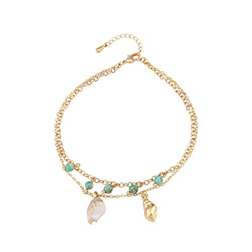 LOYATA Conch Turquoise Anklets for Women Boho Multilayer Charm Shell Beads Handmade Adjustable Summer Beach Barefoot Ankle Bracelet 14K Gold Plated Foot Chain Bohemian Jewelry (Turquoise)