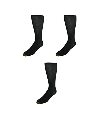 Gold Toe Mens Firm Support Compression Socks (Pack of 3-Available in Big & Tall), Large, Black