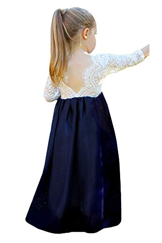 2Bunnies Girl Peony Lace Back A-Line Straight Tutu Tulle Party Flower Girl Dresses (Navy Maxi, -
