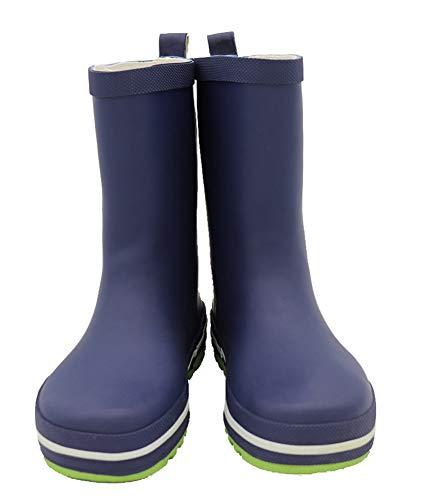 Kids Rain Boots Reflective Stripes Waterproof Rubber Matte Boots Easy-on Handles for Boys Girls(Little Kids/Big Kids) Dark Blue34