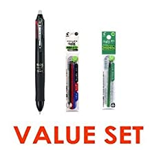 5 Set X Pilot Frixion Ball 4 Click Retractable 4 Color Gel Ink Erasable Murti Pen 0.5mm Black Body & Each 4 Color Refills / Black - Blue - Red - Green