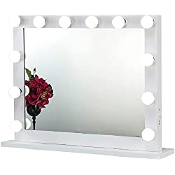 Joyful Store Hollywood Makeup Mirror,Wall Mounted Dressing Illuminated Cosmetic Mirror,Backstage Studio Tabletop Vanity Lighting Mirror,Perfect Festival Birthday Gift,White (6580)