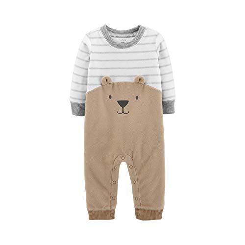 Carter's Baby Boys' Bear Fleece Jumpsuit, Tan, 12 Months