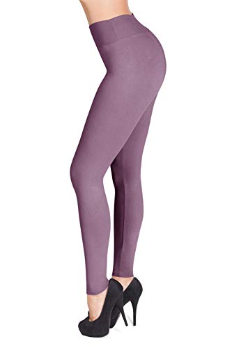 SATINA High Waisted Leggings – 22 Colors – Super Soft Full Length Opaque Slim (One Size, Lavender)