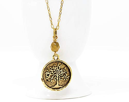 Brass Tree of Life Pendant Necklace With Small Bronze ()