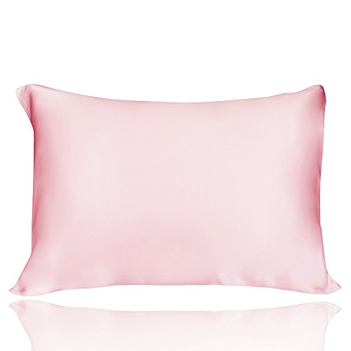 LULUSILK Natural Silk Pillowcase 100 Pure Mulberry Silk Pillow Cover for Hair and Skin Anti Wrinkle Zipper Closure Queen Size Pink 1pc 16 Momme - Pure Silk Satin Pillowcase