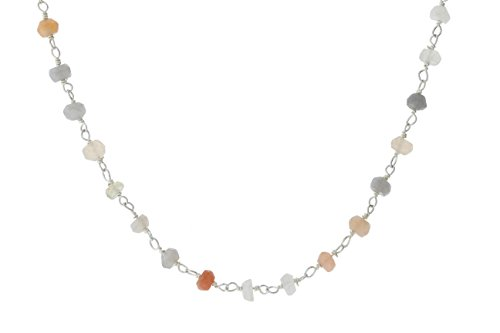 Sterling Silver Wire Natural Multicolored Moonstone Gemstone Bead Chain Stone Link Handmade Rosary Bracelet Anklet 9 Inches (Multi Silver Anklet Colored)