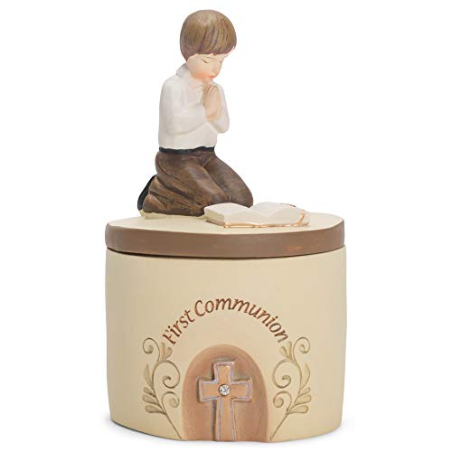1st Communion Gifts For Boys (Dicksons First Communion Praying Boy John 6:35 Resin Stone 5 inch Keepsake)