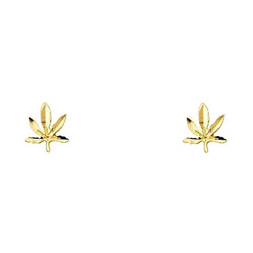 Women's 14k Yellow Gold Marijuana Leaf Small Tiny Baby Post Earrings (0.35 in x 0.27 in) ()