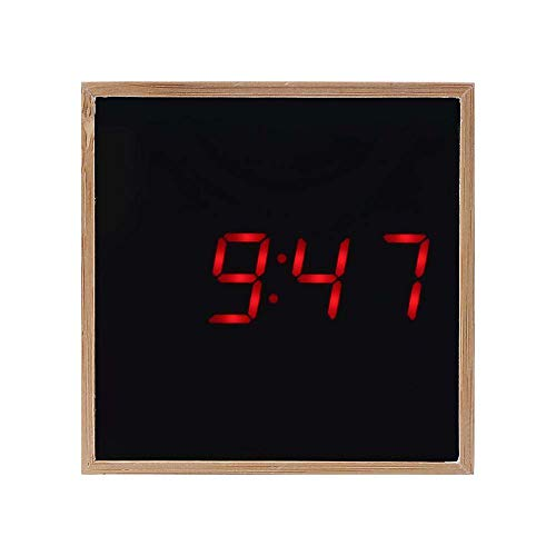 ds,MeiLiio Wooden Digital Clock LED Table Clock 3 Adjustable Brightness Levels 24/12 Hour Display Dimmable Night Light Snooze Function for Home/Office,Red LED ()