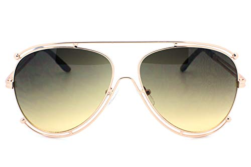 (Smoked Designer Inspired Double Wire Large Sunglasses Metal Frame Women)