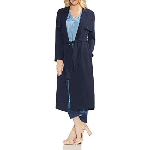 Vince Camuto Womens Microfiber Textured Trench Jacket Navy XL