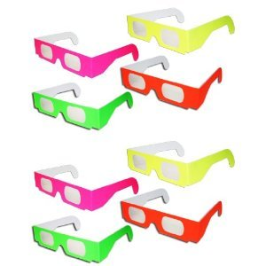 10 pairs 3D Fireworks Glasses Neon Multi-Starbursts of 3D Color
